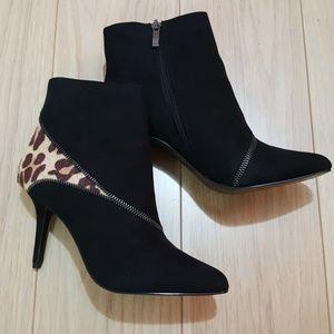 Kelly&Katie suede leopard print booties